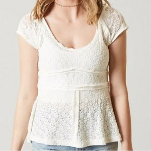 Free People White Lace Top with Buttoned Back